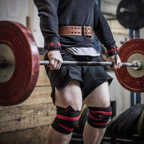 Harbinger Red line knee wraps lifestyle 2