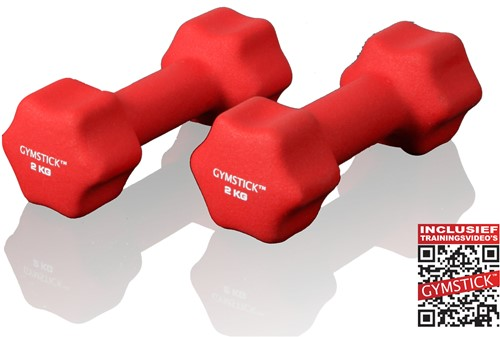 Gymstick Neopreen Dumbell Set 2 Kg met Trainingsvideo