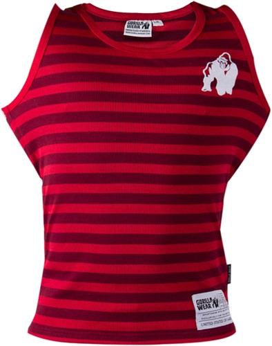 Gorilla Wear Stripe Stretch Tank Top Red-3