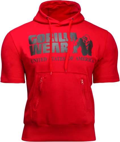 Gorilla Wear Boston Short Sleeve Hoodie - Rood - Zwart Logo