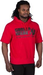 Gorilla Wear Boston Short Sleeve Hoodie - Red - Black Logo - 4XL