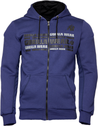 Gorilla Wear Bowie Mesh Zipped Hoodie - Navy Blue - L