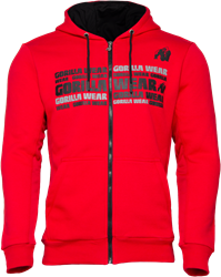 Gorilla Wear Bowie Mesh Zipped Hoodie - Red - 4XL