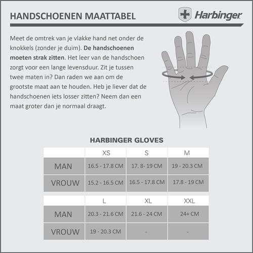 Harbinger FlexFit Wash&Dry Fitness Handschoenen Maattabel