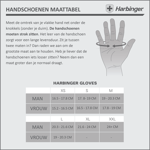 harbinger training grip gloves fitness handschoenen maattabel