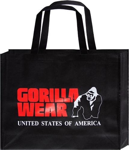 Gorilla Wear Non Woven Tas - Zwart/Rood - Groot - 10 Stuks