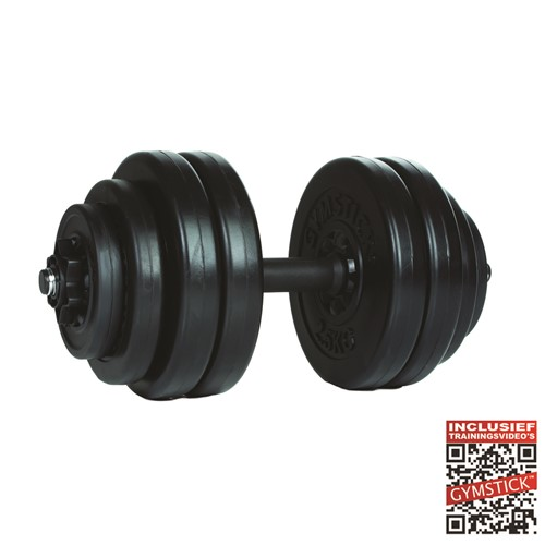 Gymstick Vinyl Dumbbell Set - 1 x 15 kg - Met Online Trainingsvideo's