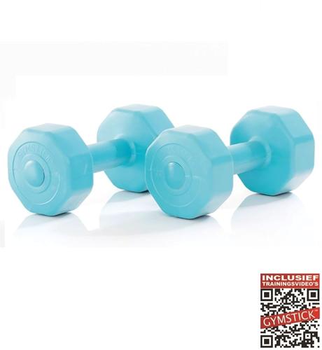 Gymstick Active Vinyl Dumbbells - Met Online Trainingsvideo's - 2 x 5 kg