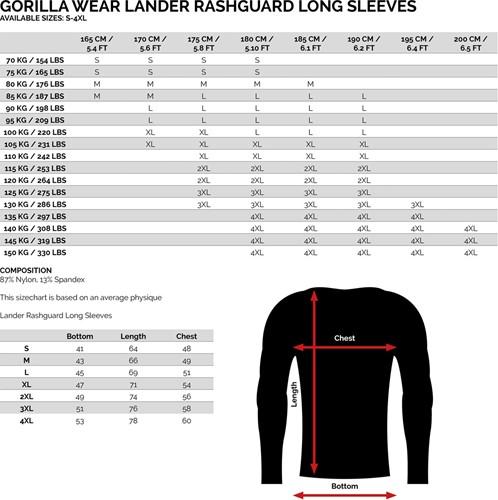 Gorilla Wear Rashguard Long Sleeves - Army Green maattabel