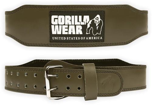 Gorilla Wear 4 Inch Padded Leren Lifting Belt - Legergroen