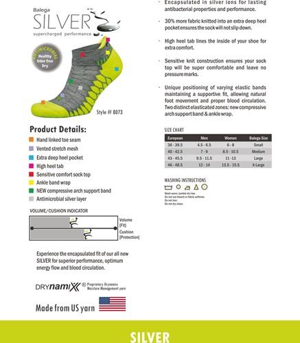 Balega Silver Sportsok Grijs/Lime groen-3