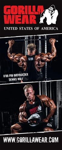Gorilla Wear Roll Up Banner IFBB PRO Athlete DENNIS WOLF - 85x200cm -2