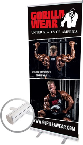 Gorilla Wear Roll Up Banner IFBB PRO Athlete DENNIS WOLF - 85x200cm