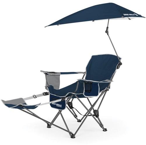 Sport-Brella Verstelbare Campingstoel - Visstoel - Strandstoel met Parasol - Blauw