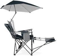 Sport-Brella Verstelbare Campingstoel - Strandstoel met Parasol - Blauw-3