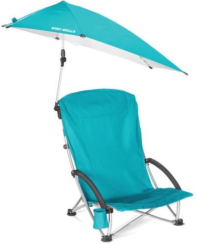 Sport-Brella Campingstoel - Visstoel - Strandstoel met Parasol - Lichtblauw