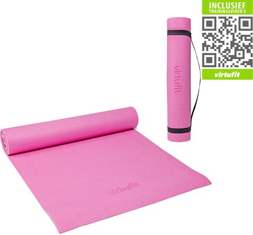 VirtuFit Yogamat Met Draagkoord - 183 x 61 x 0.3 cm - Roze - Gratis Trainingsvideo's