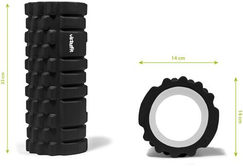 VirtuFit Grid Foam Roller 33 cm Zwart - Afmetingen