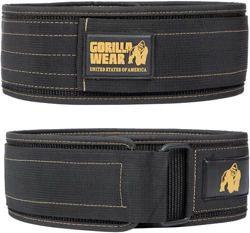 Gorilla Wear 4 Inch Nylon Lifting Belt - Zwart / Goud